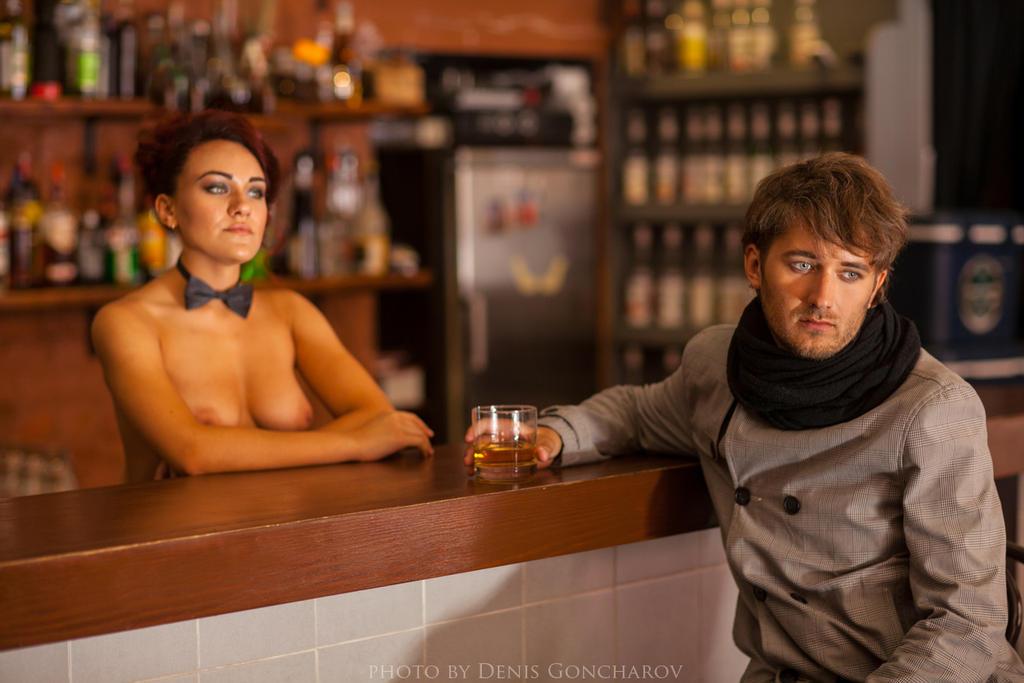 self-portrait in the bar by DenisGoncharov