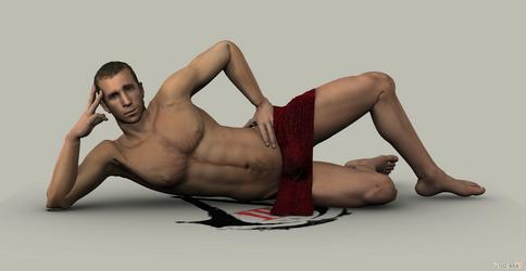 Desmond Miles nude teaser render by carbint