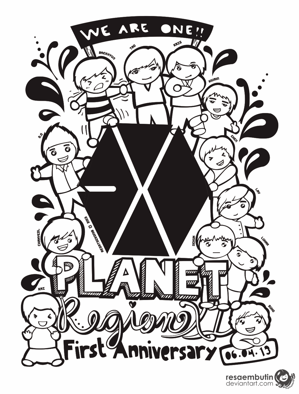 EXO First Anniversary Doodle by resaembutin on DeviantArt