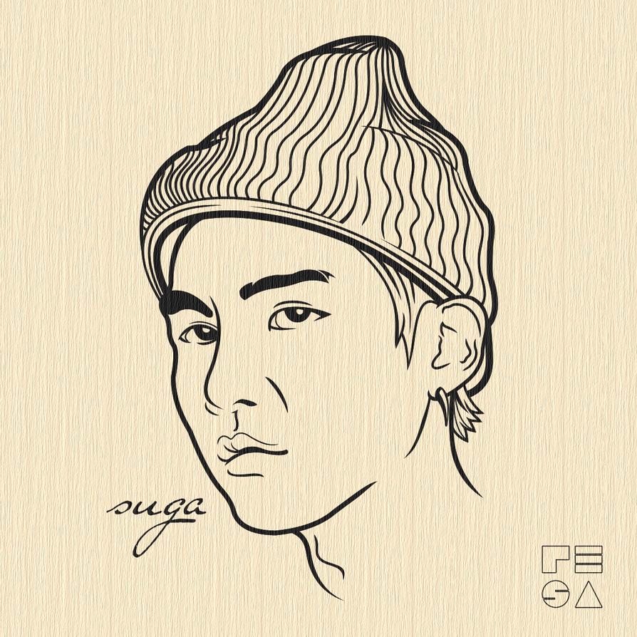 Line Art Kpop : Suga bts vector line art by resaembutin on deviantart