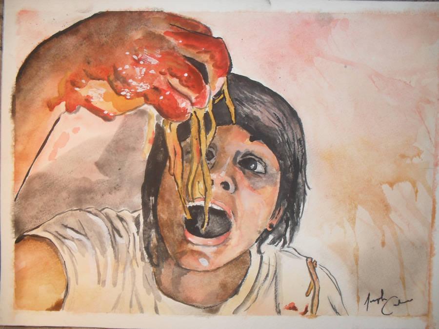 School Project eating spaghetti by Josephmarandax