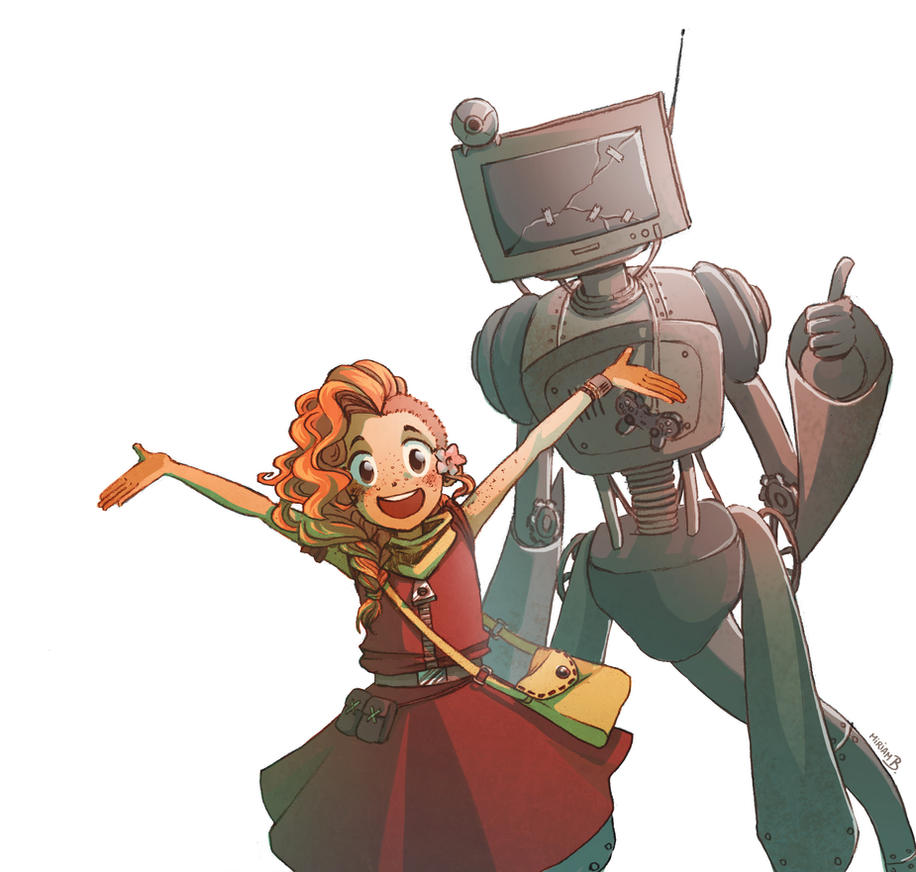 Mar and her robot by MiiBT