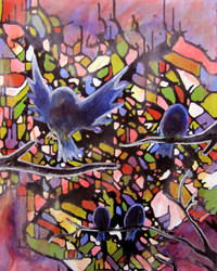 Stained Birds And Flying Glass by Mekou