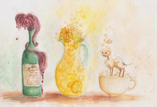 Wine, lemonade and coffee