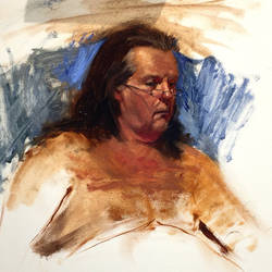 2.5hour allaprima oil sketch of Mike at catalyst