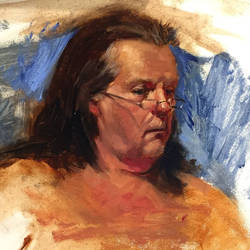 Detail of Mike 2.5 Hours allaprima oil sketch