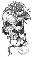 Skull  with a Rose by CrashJensen