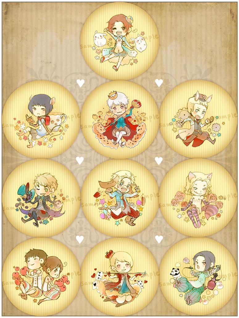 Hetalia+Alice in Wonderland badges by AlexiusSana