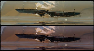 Rusty floating boat by R-A-I-N-A-R-T