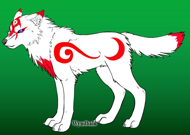 some red and white wolf by aurorazero on deviantart
