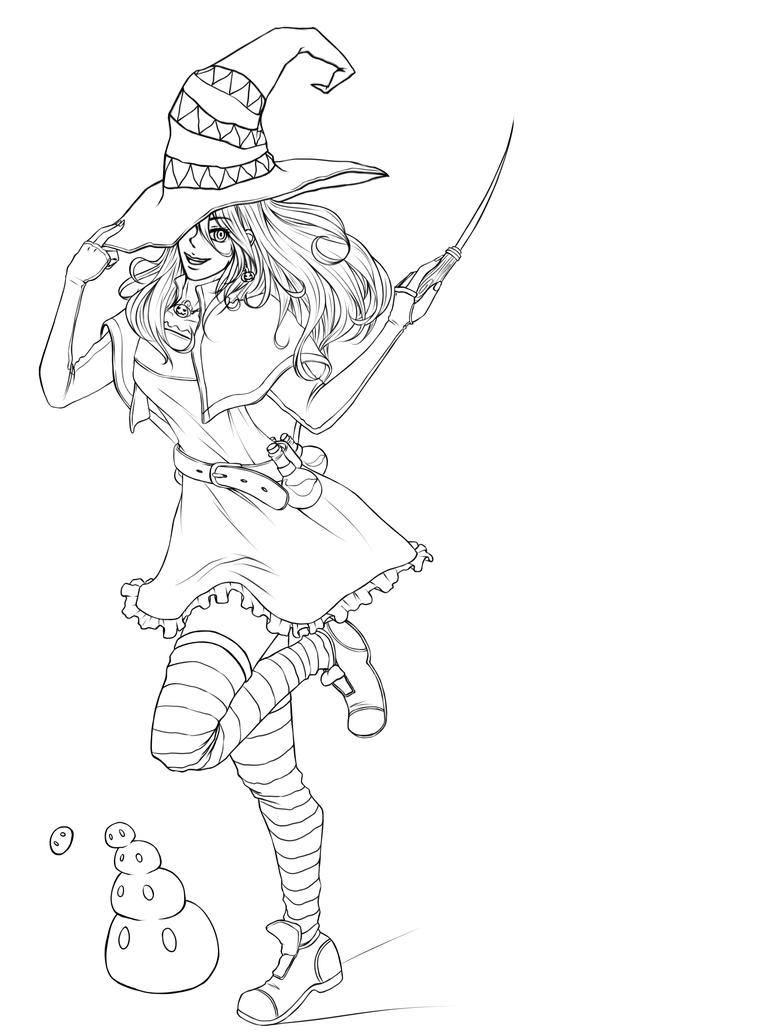 Line Art Halloween : Halloween witch line art by kimikiwi on deviantart