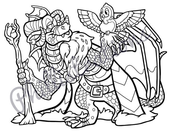 wizard and dragon coloring pages - photo#6