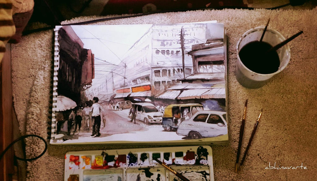 City Street watercolor painting by Abhinav-g