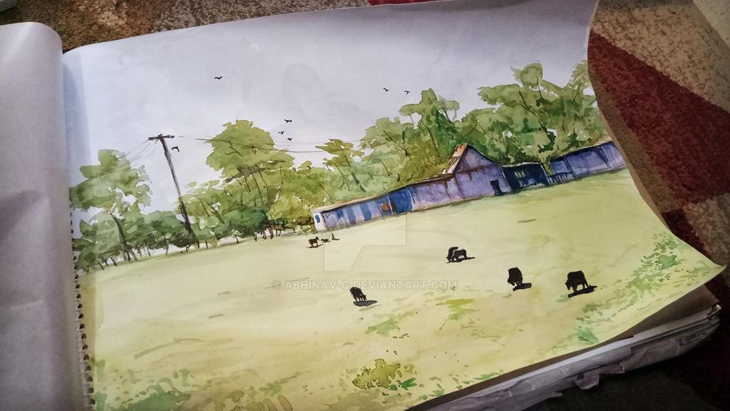 Watercolor Farm by Abhinav-g