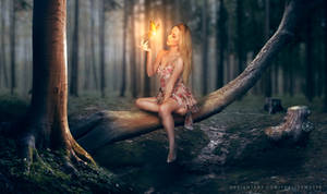 Girl in the Forest Tree