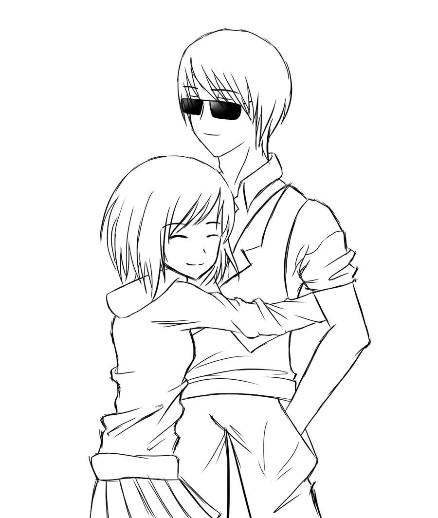 Line Drawing Couple : Sketch couple cuddling coloring pages
