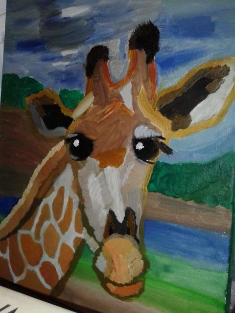 painting of a giraffe by adarwen