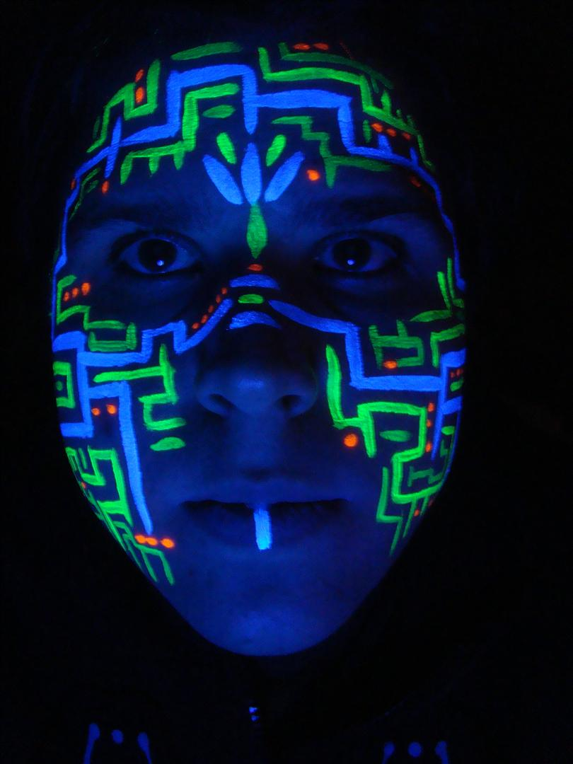 UV Circuitboard Face Paint by