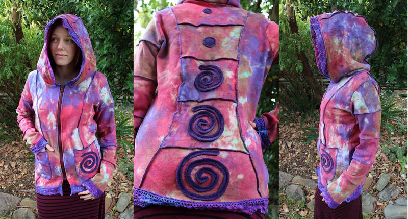 Hand Dyed Spiral Lace Hoodie by Faeriegem