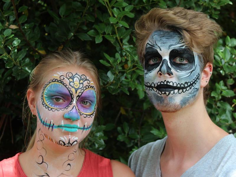 Sugar Skull and Skull Face Paint by Faeriegem
