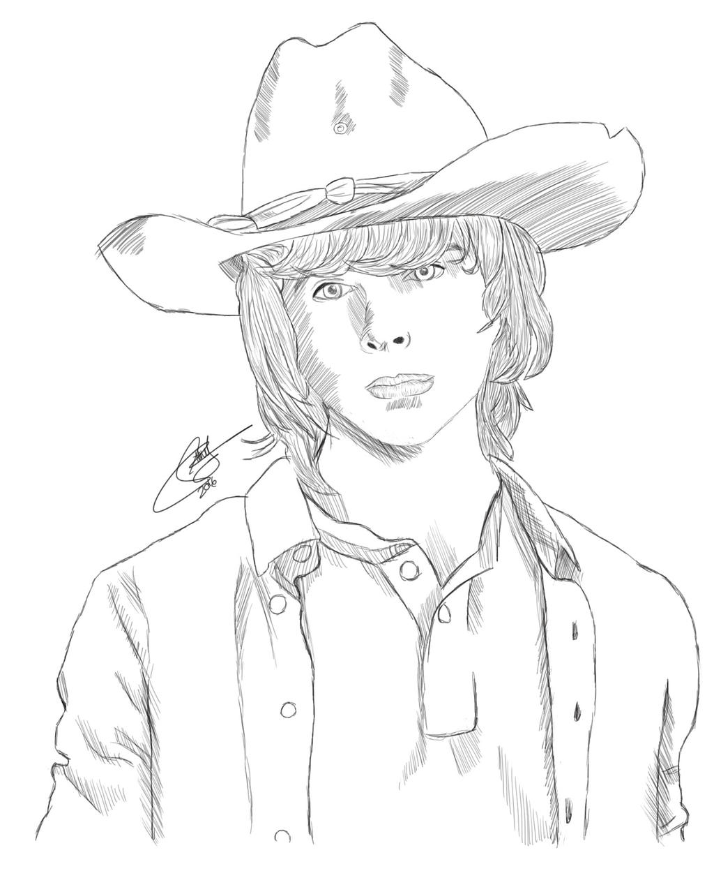 the walking dead coloring pages - carl grimes from 39 the walking dead 39 by tabeasusan on