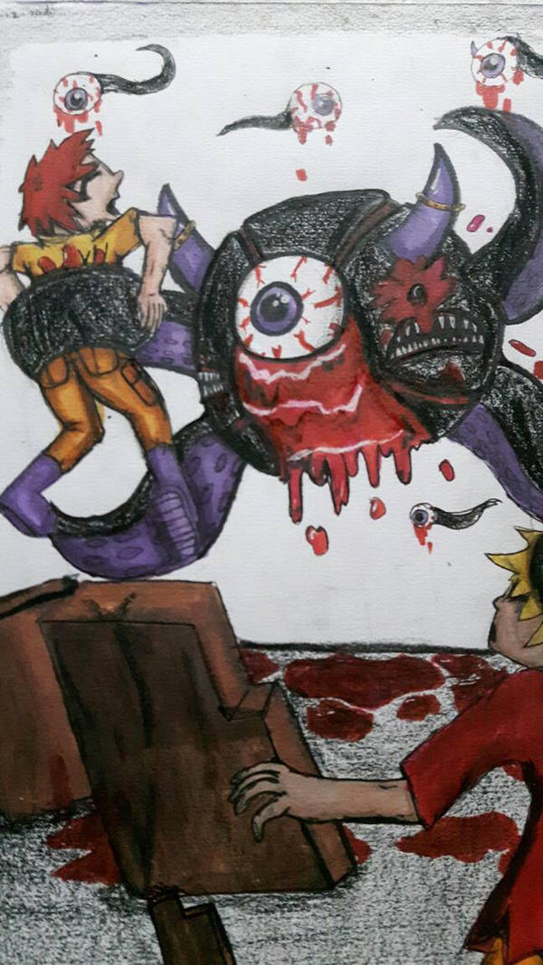 First manga drawing! (kind of gory!) by Fandomtrash198787