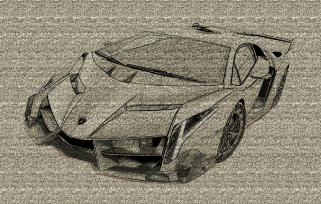 Lambo Veneno Drawing Black And White Paint