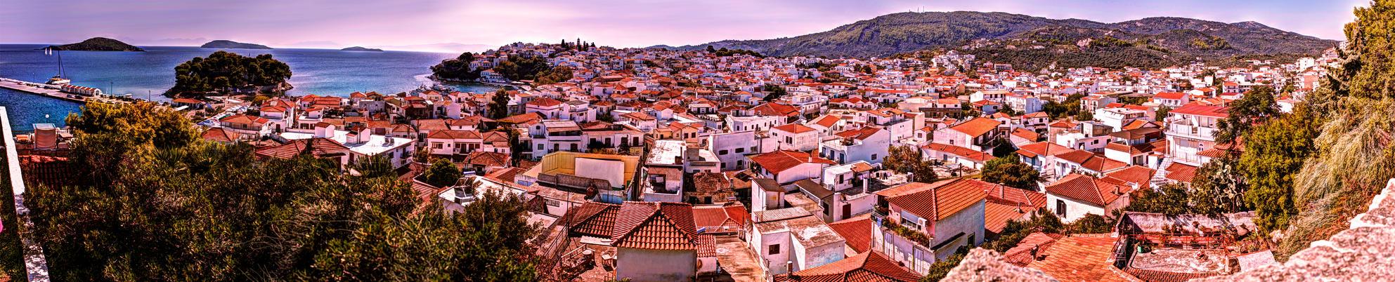 skiathos town panorama by Dziubek304