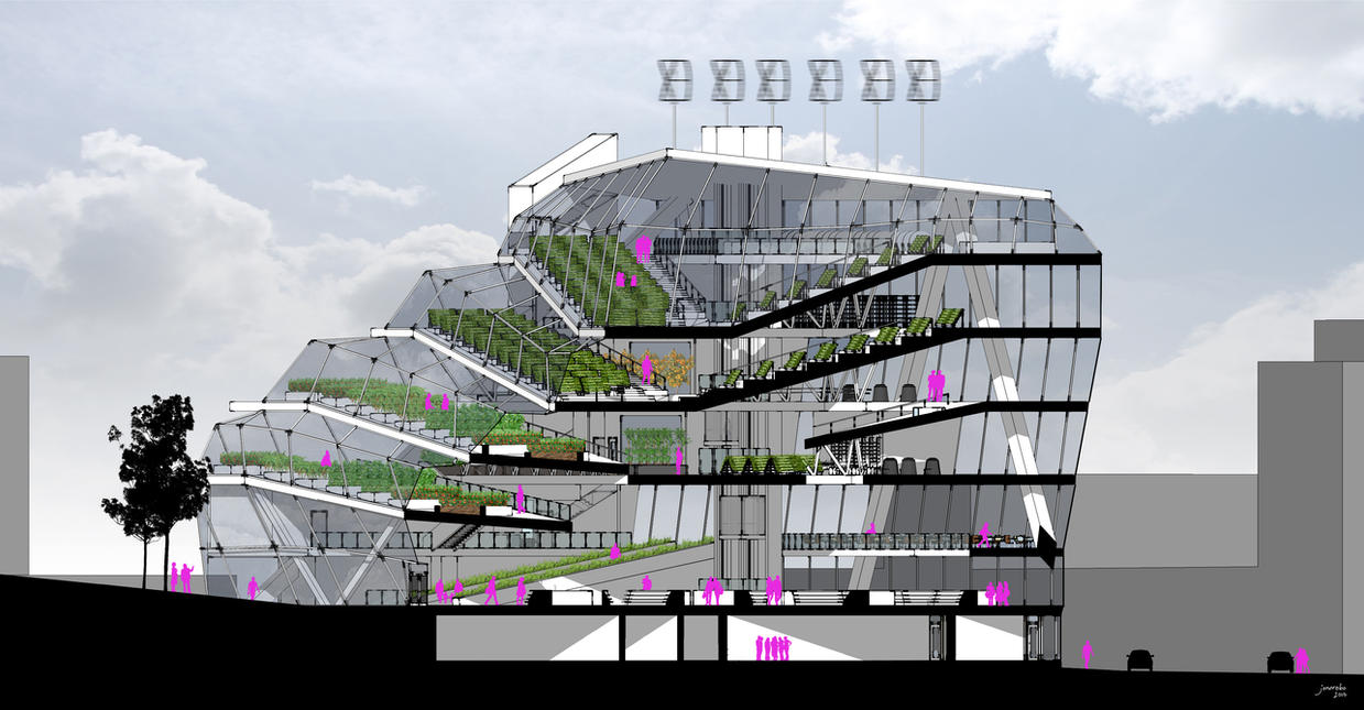 Vertical Farm Section by jonorobo