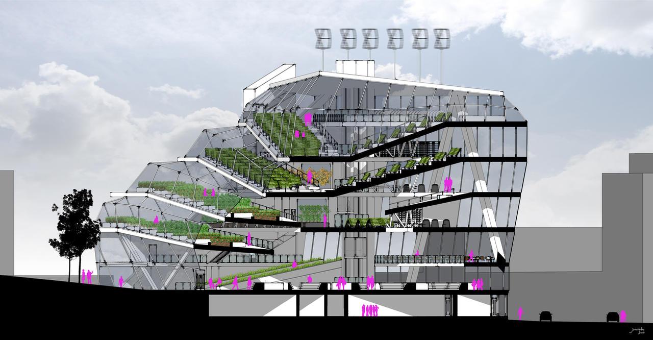 Vertical Farm Section by QubixDesign