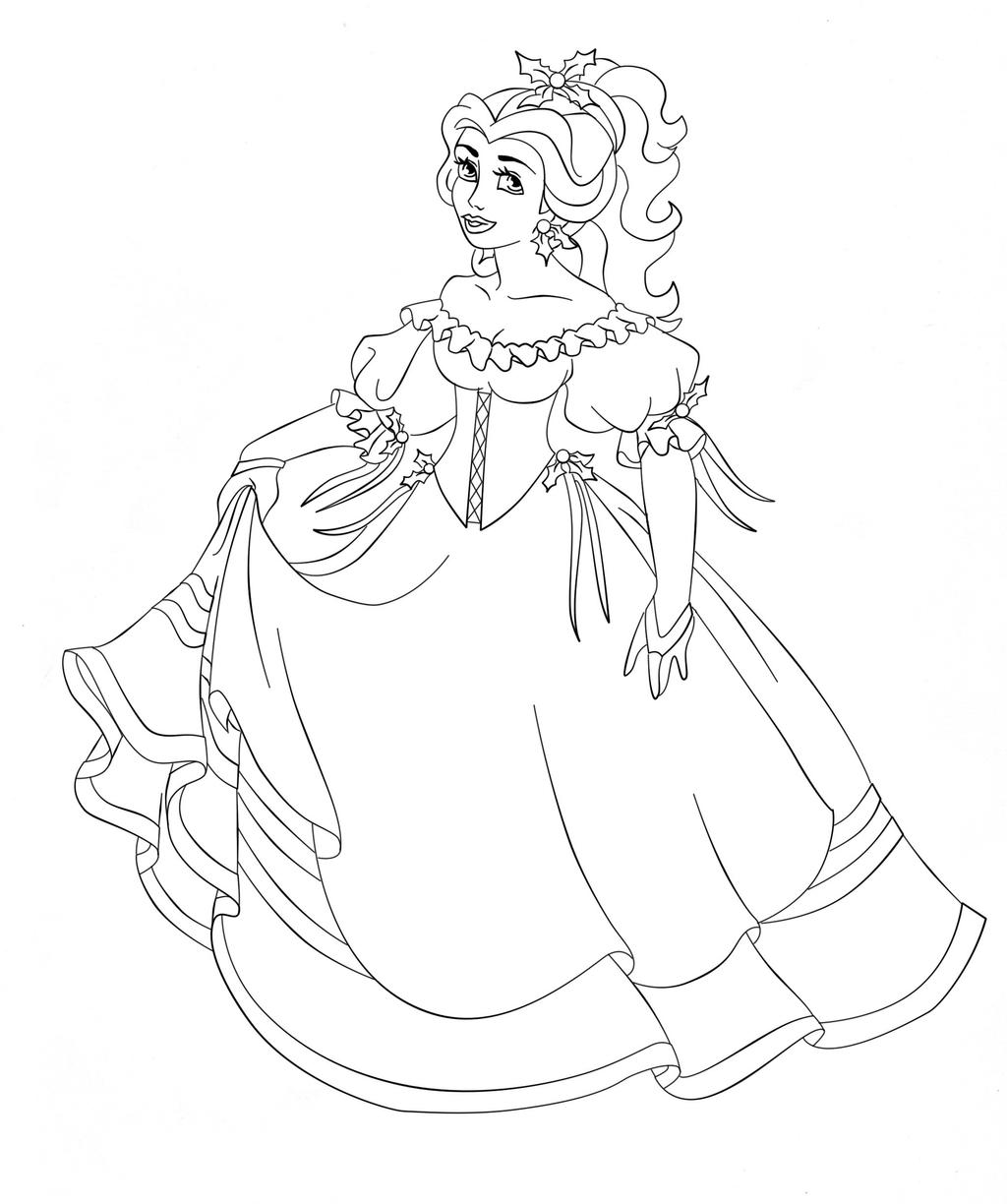 belle disney coloring pages - belle disney christmas by paola tosca on deviantart