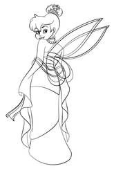 Tinkerbell as Mulan - Lineart by Paola-Tosca