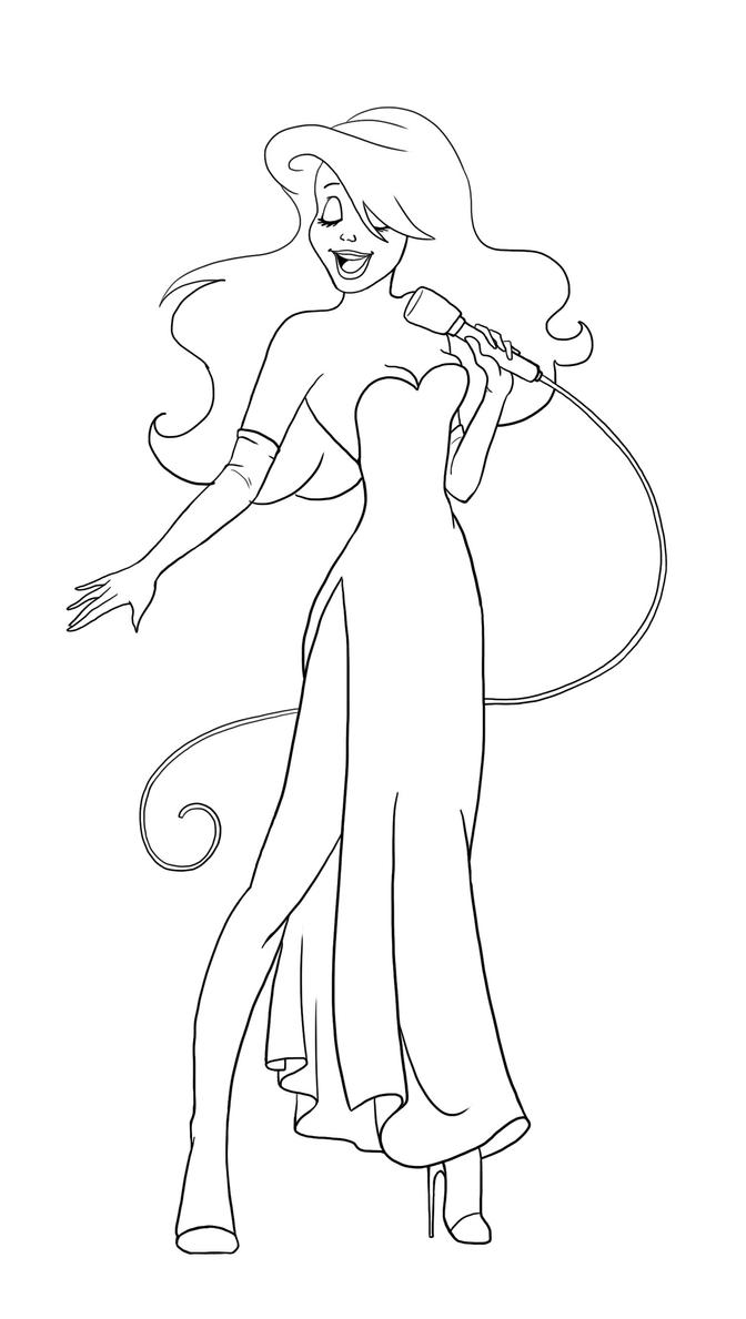 Ariel as jessica lineart by paola tosca on deviantart for Jessica rabbit coloring pages