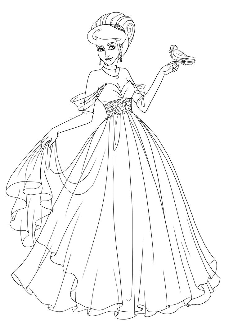Line Art Fashion Design : Commission princess saria lineart by paola tosca on