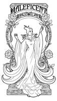 Maleficent - Art Nouveau - Lineart by Paola-Tosca
