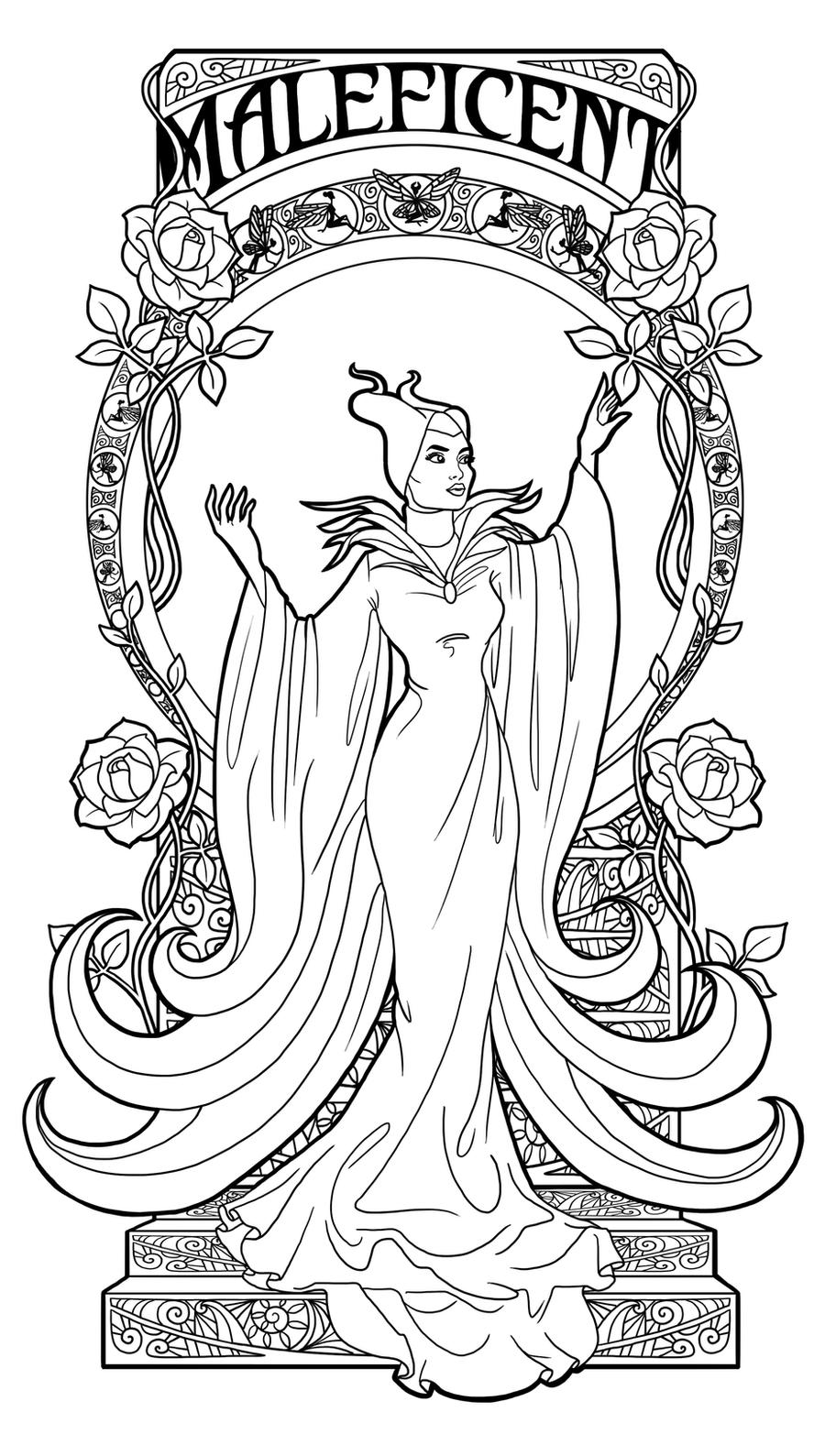 Maleficent art nouveau lineart by paola tosca on for Maleficent coloring pages