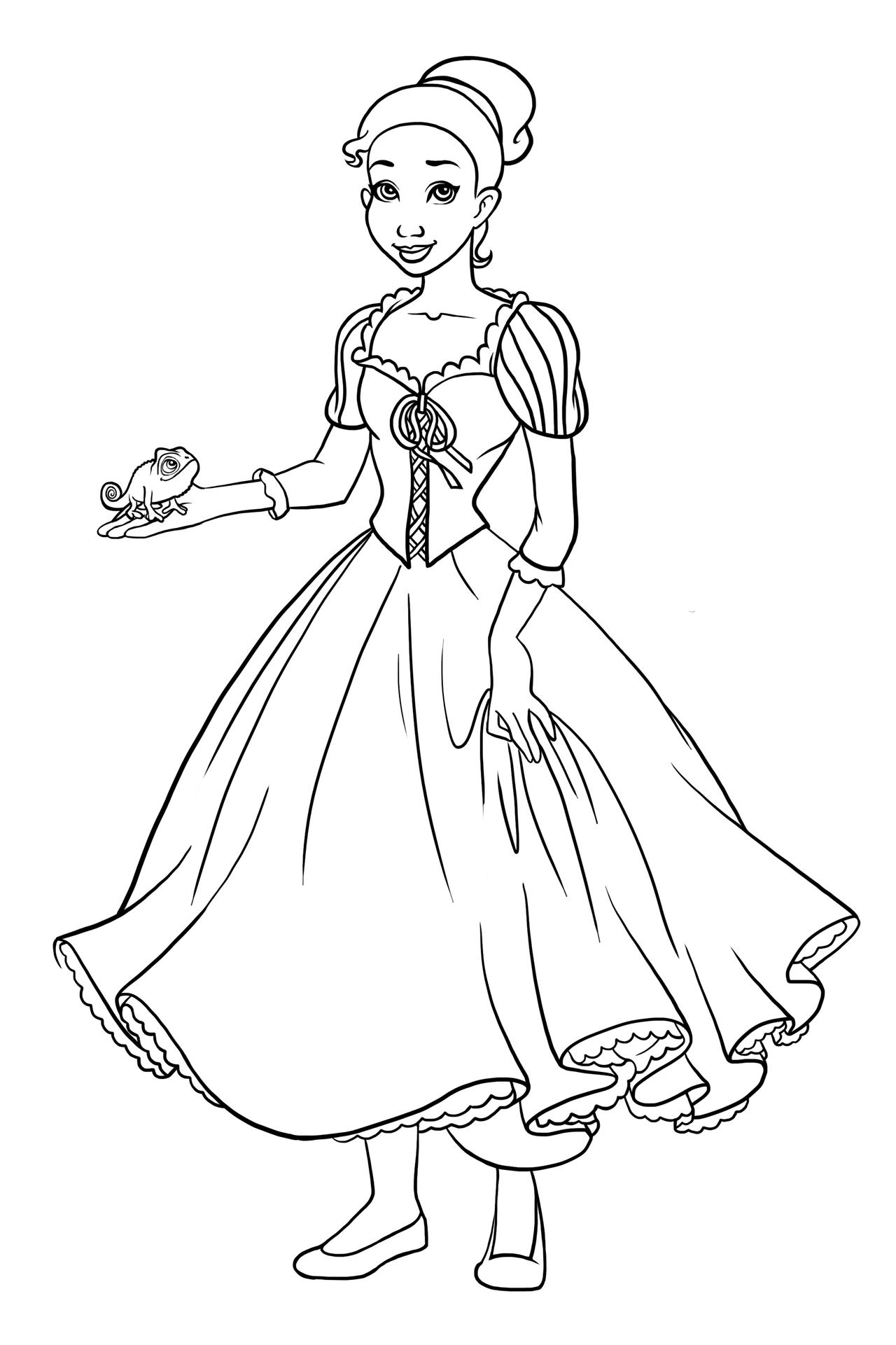 Rapunzel Lineart : Tiana as rapunzel i lineart by paola tosca on deviantart