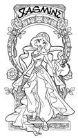 Jasmine - Art Nouveau - Lineart