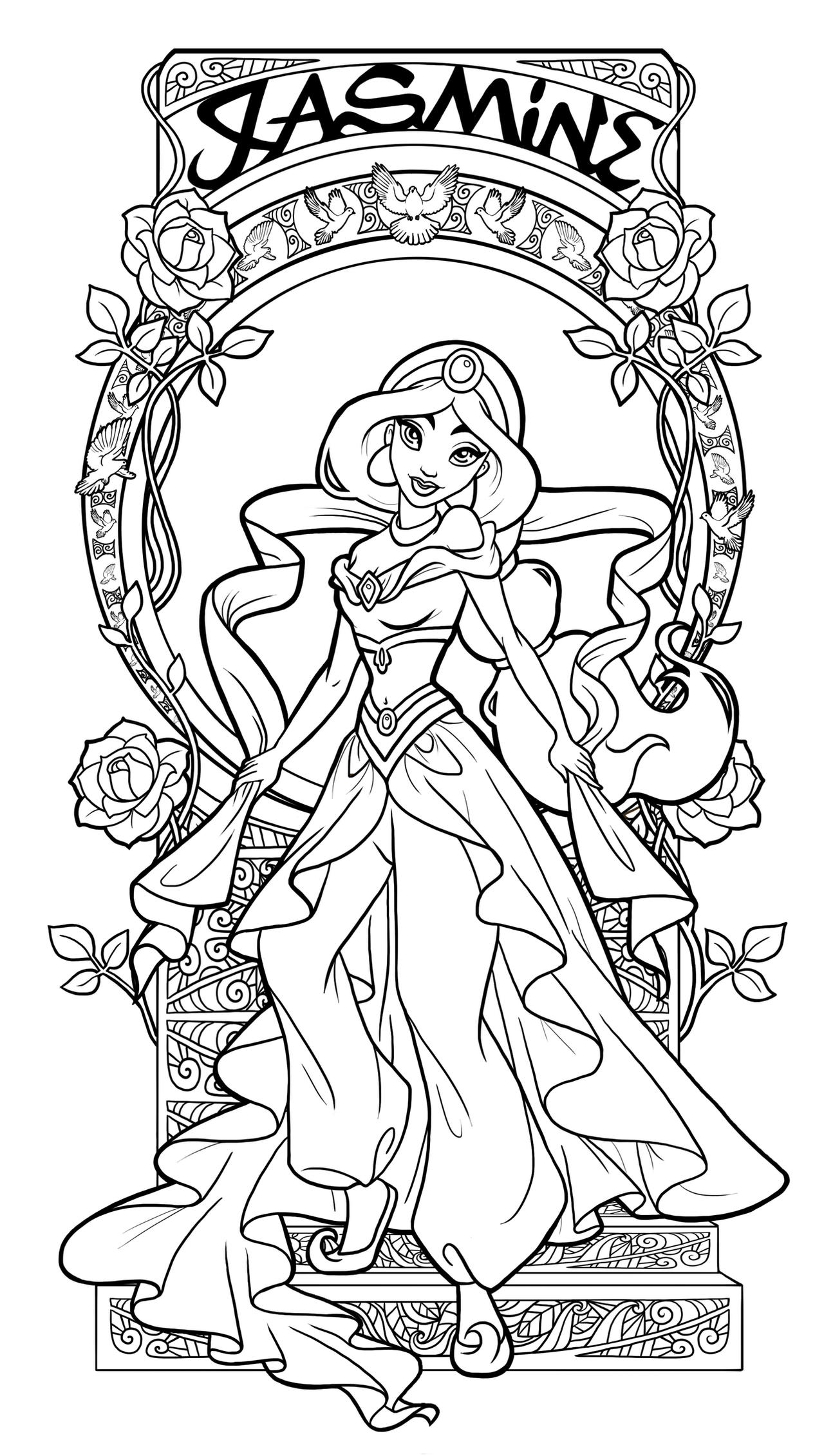 Jasmine art nouveau lineart by paola tosca on deviantart for Coloring pages of jasmine