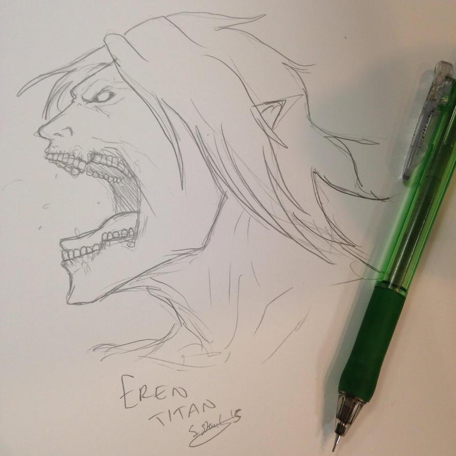 Eren Titan sketch by aussie-dragon