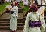 Green Print Kimono by JVCA