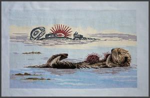 Cross Stitch Sea Otter and Urchin by Susan Coleman by kamidake