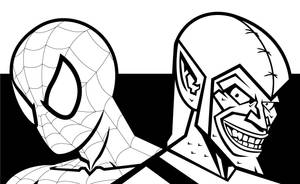 Spidey Goblin Black and White by Bat-Dan