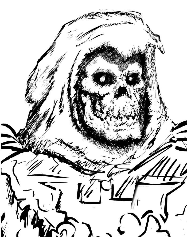 Skeletor's Black and White Headshot by Bat-Dan