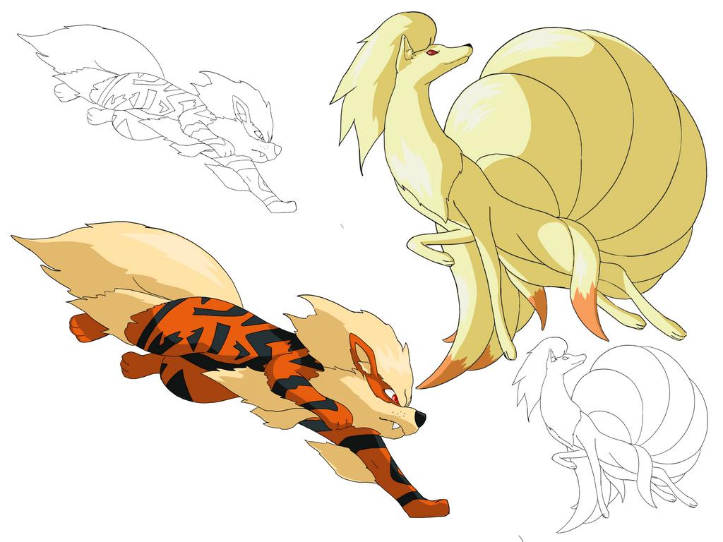Pokemon Arcanine Ninetails By ElementalxArts