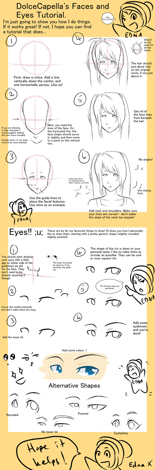 Edna's Manga Faces and Eyes Tutorial by DolceCapella