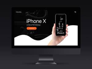 Free Dark Banner - iPhone X on Hand Mockup