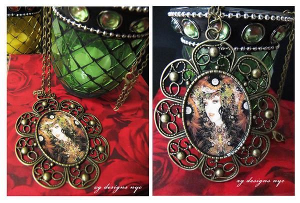 Autumn Goddess Antique Bronze Pendant Necklace by xgnyc