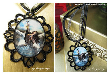 Sea Witch Magical Mermaid Black Pendant Necklace