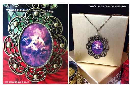 Wolf Art - Antique Bronze Art Pendant Necklace